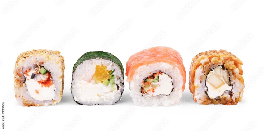 Fototapety, obrazy: Japanese food restaurant, sushi maki gunkan roll plate or platter set. California Sushi rolls with salmon. Sushi isolated at white background.