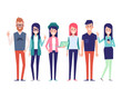 Group of young hipster friends.Urban citizen characters. Flat vector illustration isolated on white background. Cartoon style.