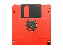 Red Floppy Disk Isolated On Wh...