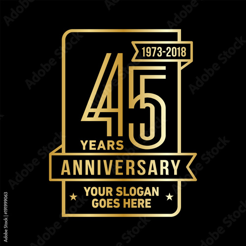 Photographie  45th anniversary logo. Vector and illustration.