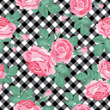 Roses Seamless Pattern On Blac...