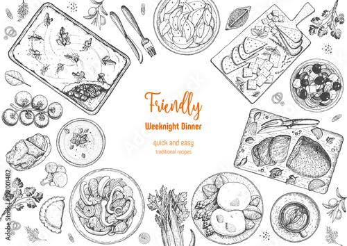 Fotografia Family dinner top view, vector illustration