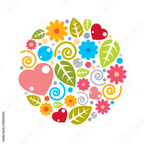 Nice childish circle composition of flowers, hearts and leaves, vector design.