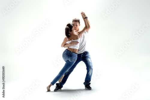 Foto op Canvas Dance School couple dancing social danse