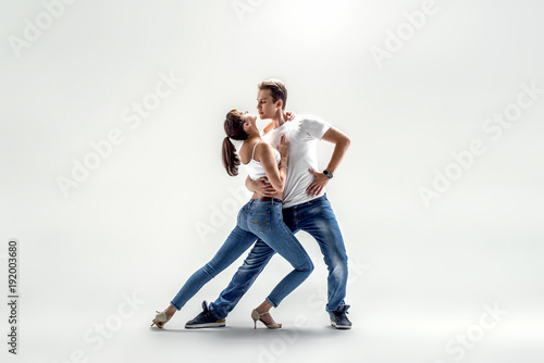 Fotobehang Dance School couple dancing social danse