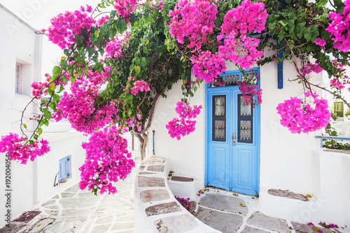 Fototapety, obrazy: Traditional greek house with flowers in Paros island, Greece