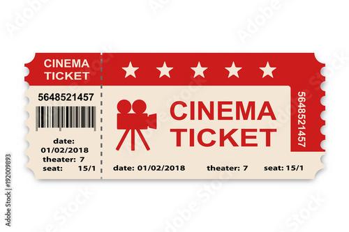 Fotografía  Cinema ticket isolated on white background.