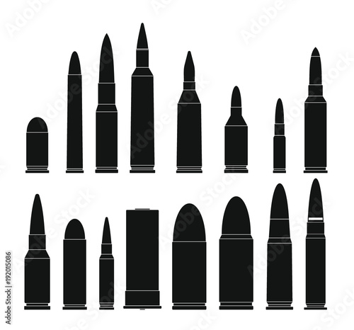 Fotografia Bullet gun military icons set