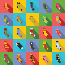 Socks Textile Icons Set. Flat ...