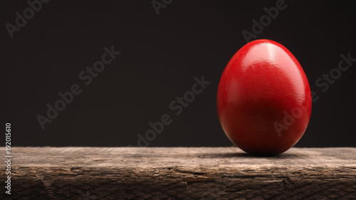 Red Colored Easter egg on wood