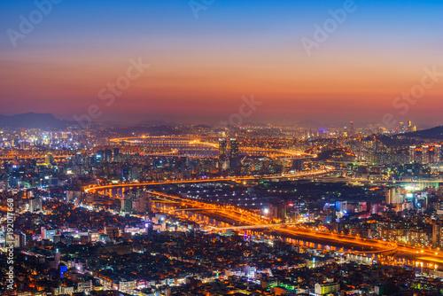 Fototapeta Sunset at Seoul City Skyline, The best view of South Korea obraz na płótnie