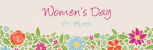 Women's Day - Vintage Card With Hand Drawn Flowers. Vector.
