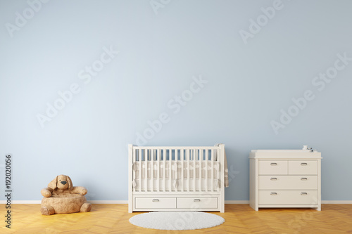 Fotografering Nursery room with crib and toys