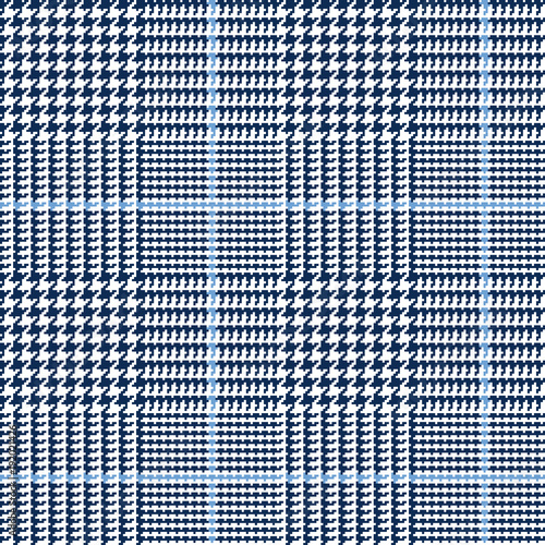Photo  Glen Plaid Vector Pattern in Navy, White and Blue Overcheck