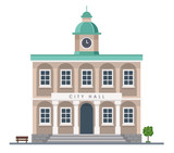 Fototapeta Miasto - City hall building in flat style isolated on white background - Urban architecture. Vector illustration design template