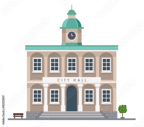 City hall building in flat style isolated on white background - Urban architecture Fototapeta