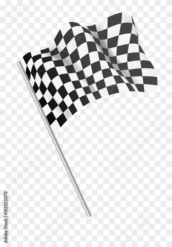 Tuinposter F1 Chequered flag flying. Vector illustration.