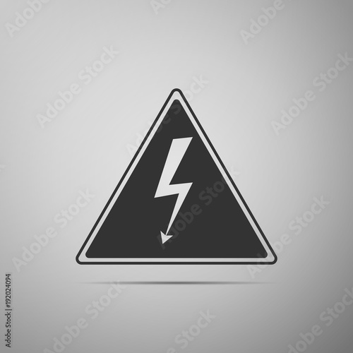 High Voltage Sign Icon Isolated On Grey Background Danger Symbol