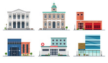 Set Of City Buildings - City Hall, Museum, Police Station, Fire Station, Hospital, Bank, Illustration In Flat Style, Design Template