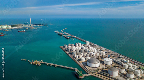 Fotografie, Obraz  Aerial view of tank farm for bulk petroleum and gasoline storage, Crude oil storage terminal, pipeline operations, distributes petroleum products