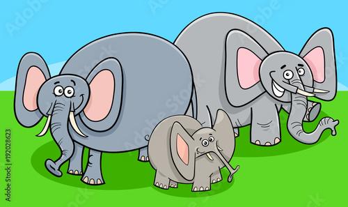 funny elephants cartoon character group Wallpaper Mural
