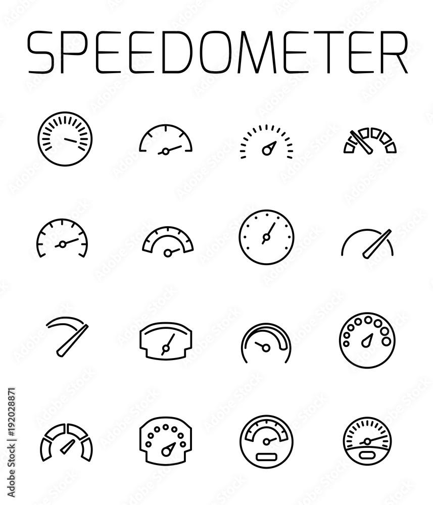Fotografía Speedometer related vector icon set.