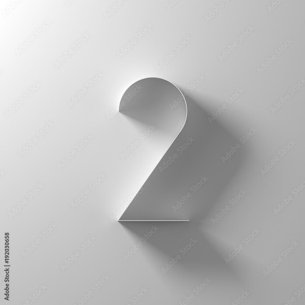 Fototapeta 2, two, white paper number