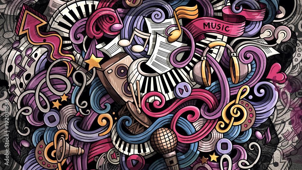 Fototapety, obrazy: Doodles Music illustration. Creative musical background