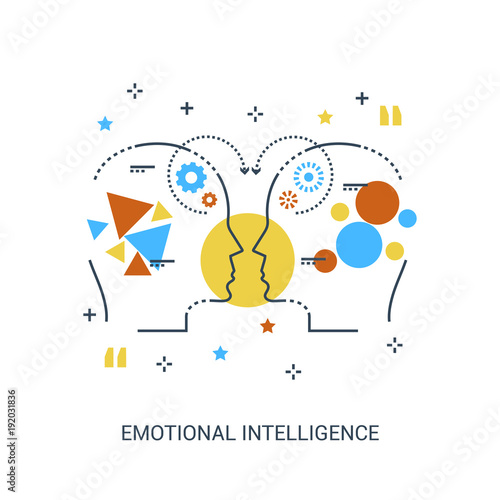 Premium quality icon concept of emotional intelligence, communication skills, reasoning, persuasion, mentoring or intuition Canvas Print