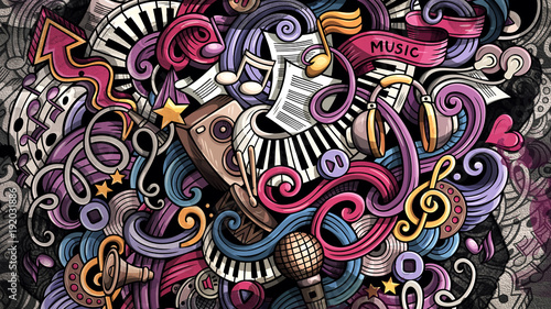 Obraz Doodles Music illustration. Creative musical background - fototapety do salonu