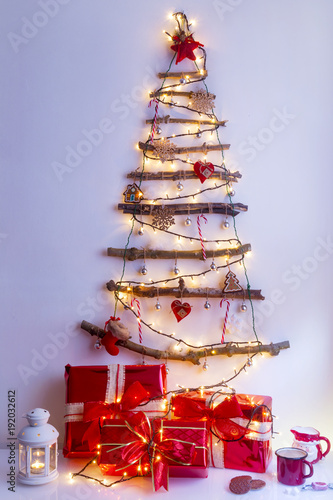 Christmas tree made of dry branches with lights and ornaments - Christmas Tree Made Of Dry Branches With Lights And Ornaments - Buy