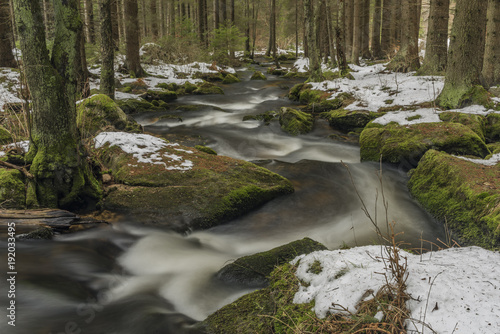 Foto op Plexiglas Rivier Mensi Vltavice river in snow winter day