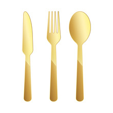 Gold Restaurant Symbol. Vector...
