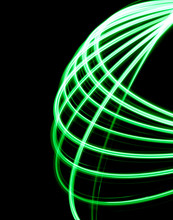Spirographic, Abstract, Light Patterns On A Black Background Created With L.E.D. Lighting That Looks Like Lasers Lights