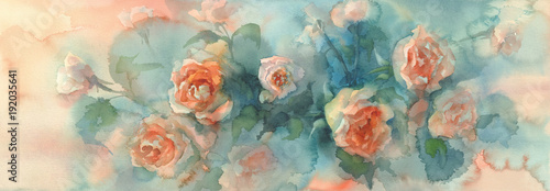 Fototapeta orange roses colorful background watercolor obraz
