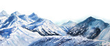 Mountain winter snow peak watercolor in blue tone on white background - 192036608