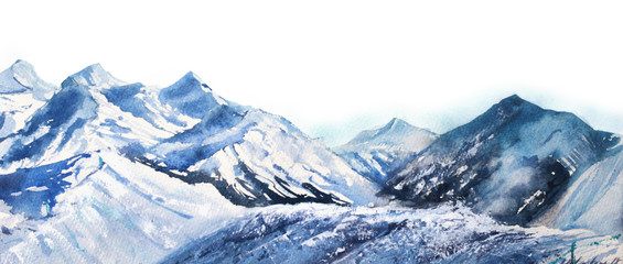 FototapetaMountain winter snow peak watercolor in blue tone on white background