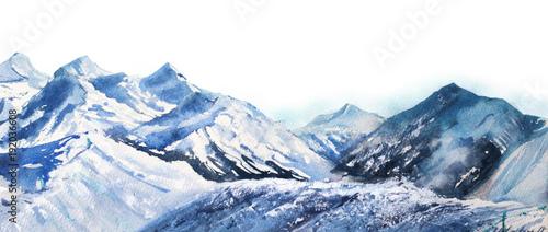 zima-snieg-szczyty-akwarela-blekitny
