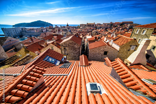 Montage in der Fensternische Rotglühen Beautiful landscape of Croatia, Croatia coast, sea and mountains. Dubrovnik panorama