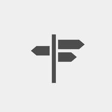 Crossroads Flat Vector Icon. Pointer Flat Vector Icon