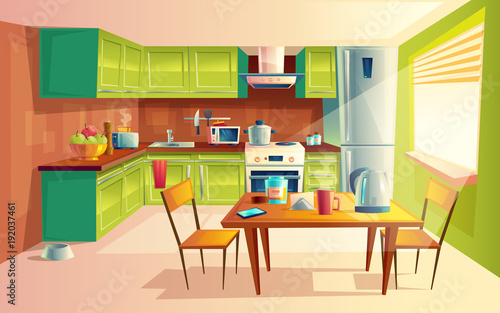 Vector cartoon illustration of cozy modern kitchen with appliances fridge stove toaster for Cartoon picture of a living room