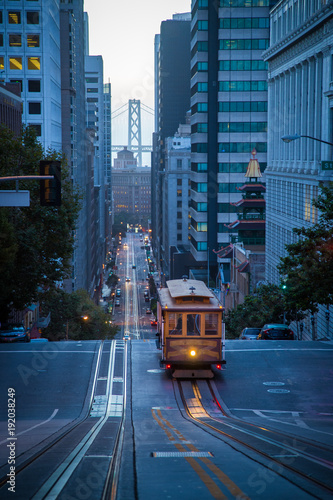Canvas Prints San Francisco San Francisco Cable Car on California Street in twilight, California, USA