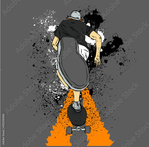 Skateboarder on a skateboard. Grunge background with blots. Vector illustration