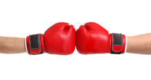 Men In Boxing Gloves On White Background