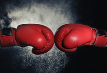 Men In Boxing Gloves On Black ...