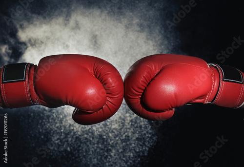 Men in boxing gloves on black background Tapéta, Fotótapéta