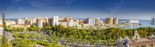 City center skyscrapers business district in Malaga, Andalusia, Spain