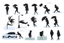 Silhouettes Of People During Bad Weather Conditions, Walking Running During Strong Rain Wind, Hail, Tsunami, Storm, Blizzard, Flood
