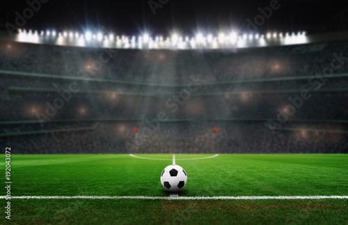 Plakat piłka na stadionie
