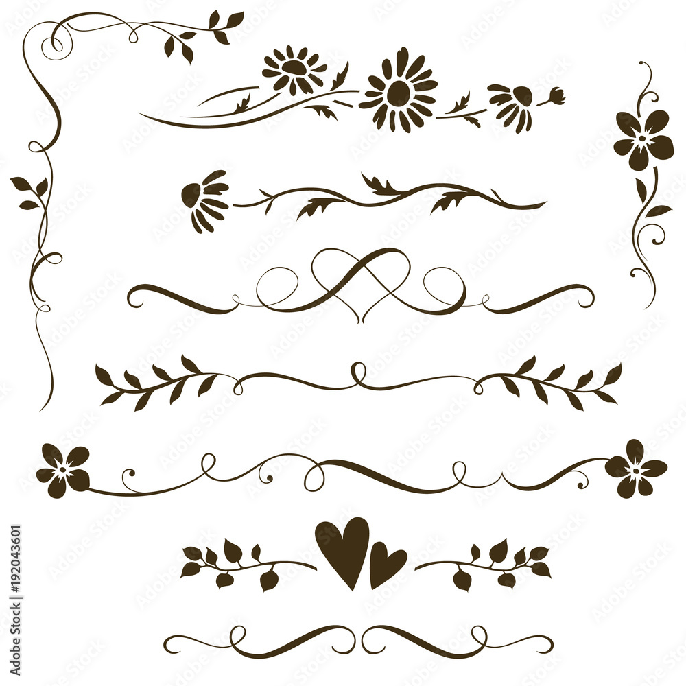 Fototapety, obrazy: Set of calligraphic floral elements with hearts for wedding invitation design. Vector decorative ornament with flower silhouette. Dividers and frame elements